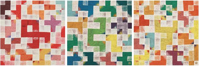 Ikki Sakamoto, 'sora-trio r' / 'sora-trio y' / 'sora-trio b', 2016, Pigment on paper, 18.0 x 18.0 cm (each)