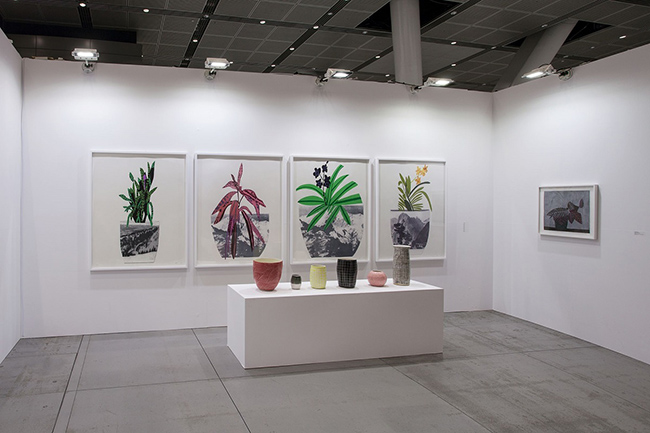 Installation view, artwork, left to right: Jonas Wood; Shio Kusaka