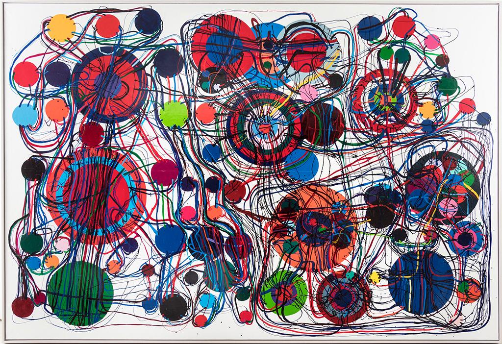Atsuko Tanaka, ''95A', 1995, vinyl paint on canvas, 193.7x280.0cm