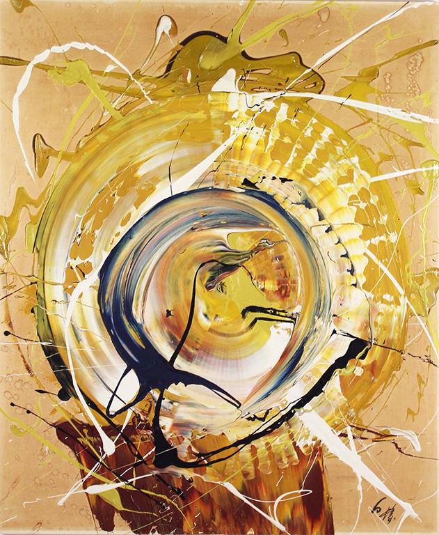 Kazuo Shiraga, <em>Tenhorin</em>, 1974, oil on paper laid on panel, 72.7 x 60.6 cm