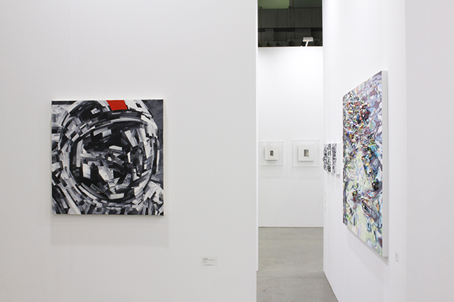 Installation view, artwork, left to right: Michael Kagan; Takahiro Yamamoto; Anne Kagioka Rigoulet