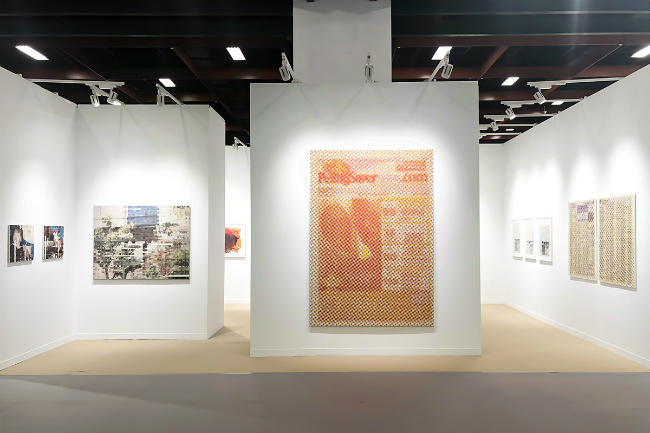 Installation view, artwork, left to right: Shiori Tono; Kazuo Shiraga; Mungo Thomson