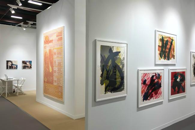 Installation view, artwork, left to right: Shiori Tono; Mungo Thomson; Kazuo Shiraga