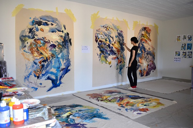 Anne Kagioka Rigoulet at her studio in Luxembourg.
