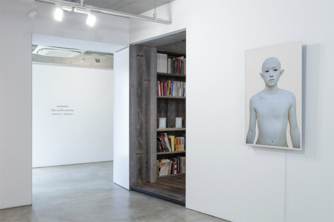 Installation view with exonemo, 'Body Paint 49″/Male/White', 2020