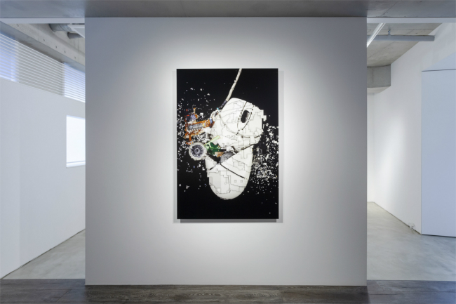 Installation view with exonemo, 'A destroyed computer mouse, sliced', 2020