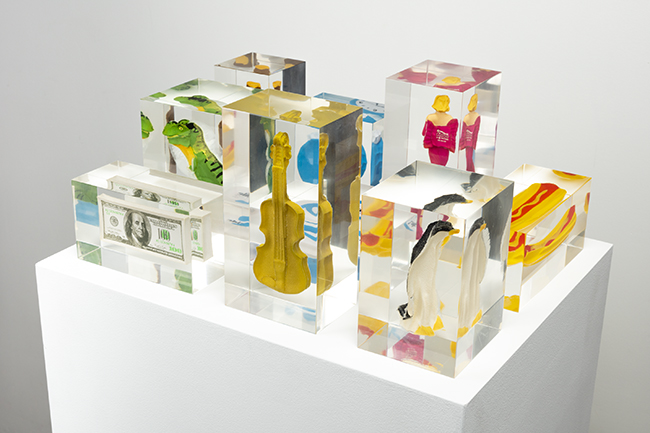 Mungo Thomson, 'Stress Archive ($100 Bills, Alarm Clock, Beer Bottle, Flip Flop, Gold Violin, Hot Dog, Movie Star, Penguin, T. Rex)', 2014-2020, Stress toys and Lucite, H13.0 x W38.1 x D48.3 cm