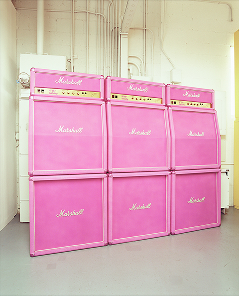 Kaz Oshiro, <em>Pink Marshall Stack Wall (Three Marshall Double Stacks)</em>, 2002, acrylic and Bondo on stretched canvas, 182.9 x 228.6 x 36.2 cm, Photo: JJ Stratford