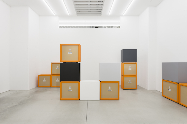 Kaz Oshiro, 'Orange Speaker Cabinets and Gray Scale Boxes', 2020, acrylic and Bondo on stretched canvas, 73.7 x 76.2 x 37.5 cm / each