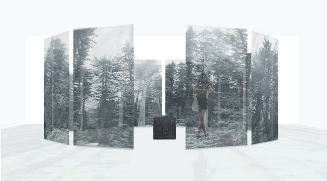 Miya Ando, 'The Cathedral (The Shrine of Trees, The Sisters and The Mother)', 2018, silk chiffon, charred redwood, acrylic rods, 304.8 x 320.0 x 320.0 cm