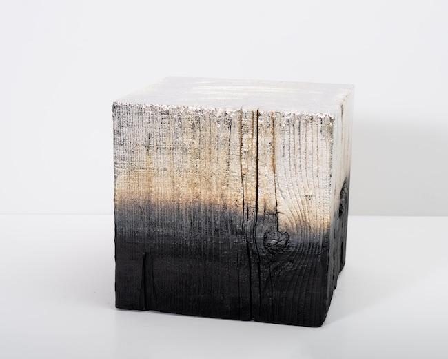 Miya Ando, 'Alchemy (Shou Sugi Ban) Cube 3.19.12.9', 2019, solid charred redwood, silver nitrate, 30.5 x 30.5 x 30.5 cm