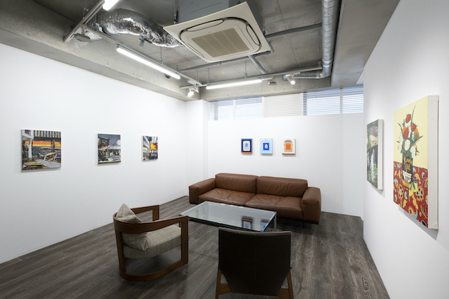 Installation view, artwork, left to right: Marius Bercea; Lily Stockman; Hilary Pecis