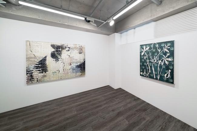 Installation view, artwork, left to right: Shiori Tono; Jennifer Rochlin