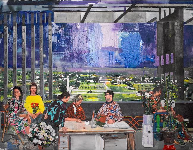 Marius Bercea, <em>Bouquet of tender rhymes</em>, 2020, oil on canvas, 300.0 x 400.0 cm