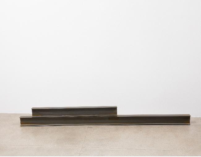 Kaz Oshiro, <em>Untitled Steel Beams (2 parts)</em>, 2016, acrylic and Bondo on canvas, 13.3 x 244.5 x 7.6, 13.3 x 121.9 x 7.6 cm (2 parts) (Installed: 26.6 x 244.5 x 7.6 cm)