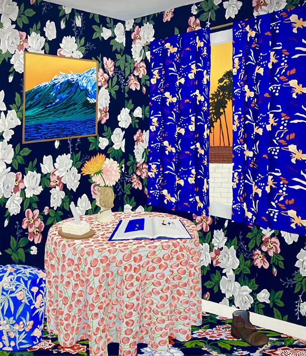 Alec Egan, <em>Miro's Corner</em>, 2021, oil andflashe on canvas, 228.6 x 198.1 cm