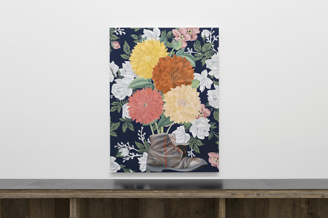 Installation view with Alec Egan, <em>Work Boot with Flowers</em>, 2021